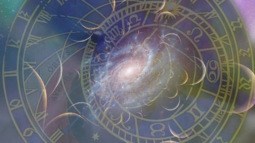 Wheels of Time. Astronomical clock and spiral galaxy   Shutterstock HD Video #1038810827