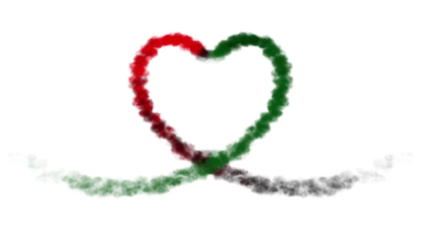 Heart smoke aerosol trails for United Arab Emirates (UAE, Dubai, Abu Dhabi) Nation day video animation of celebration for promotion, billboards, screen and tourist commercial concept