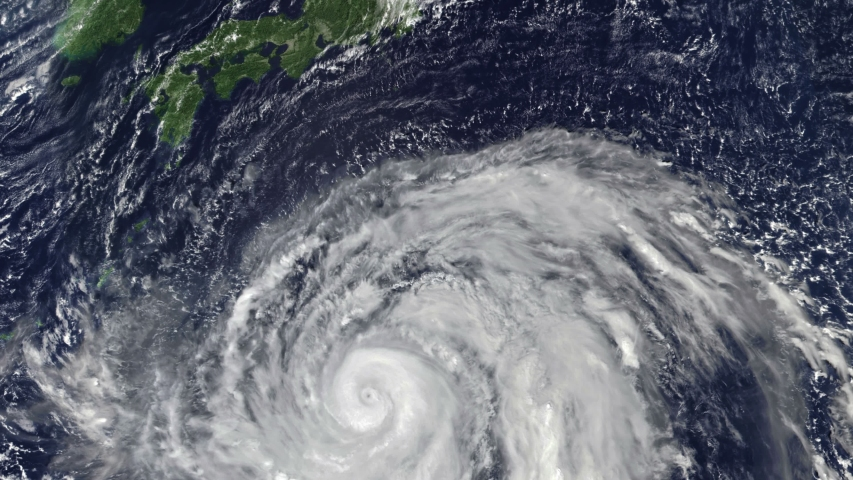 Massive Typhoon Hagibis bears down on central Japan, Cat. 5, 259 km/h to 315 km/h, Oct. 11, 2019, 3840x2160. Animation with an image of the public domain NOAA imagery: it is requested that you credit Royalty-Free Stock Footage #1038817292