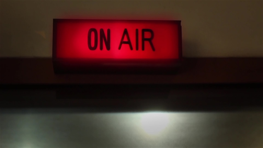 On Air Radio Sign in a Radio Station. Close-Up.