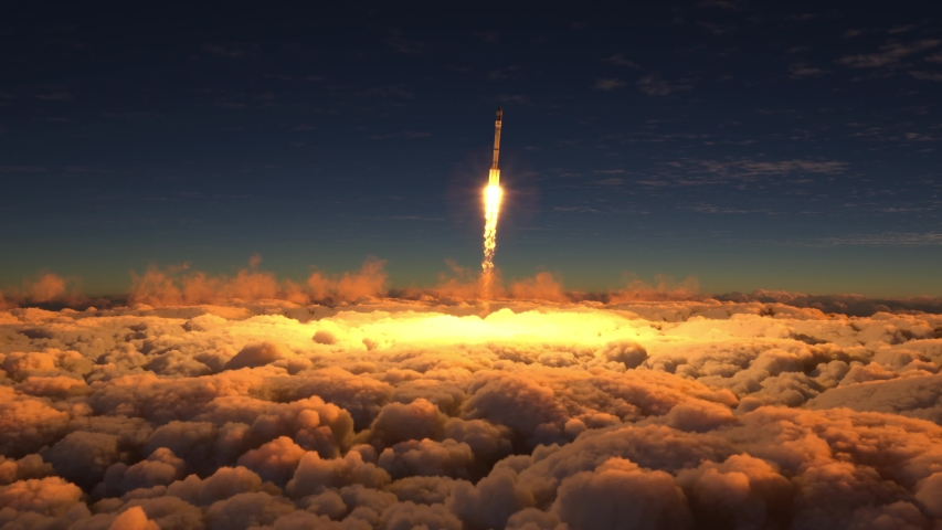 Rocket flies through the clouds