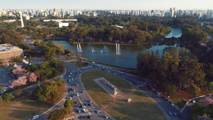 Aerial view of sunset at Ibirapuera's Park and Flag's Monument, Sao Paulo, Brazil. Great landscape. Cityscape's scenery. Sunset's scene.