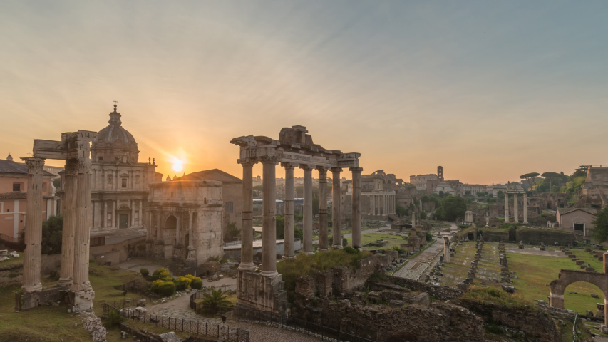 Rome Italy time lapse 4K, night to day sunrise timelapse at Roman Forum | Shutterstock HD Video #1038894941