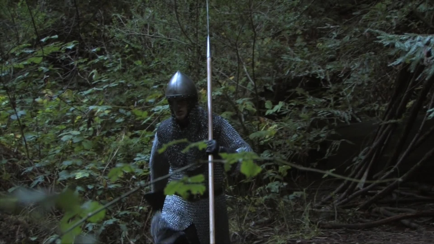 Medieval knight walks into the woods to take a piss
