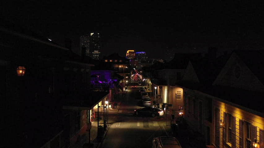 Droning at street in the French Quarter and revealing the City of New Orleans