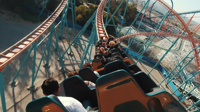 Los Angeles, California/USA - 08.24.2019: Roller coasters at Six Flags in California, first person view, lots of fun and adrenalin, extreme riding, laughing and screaming of excitement