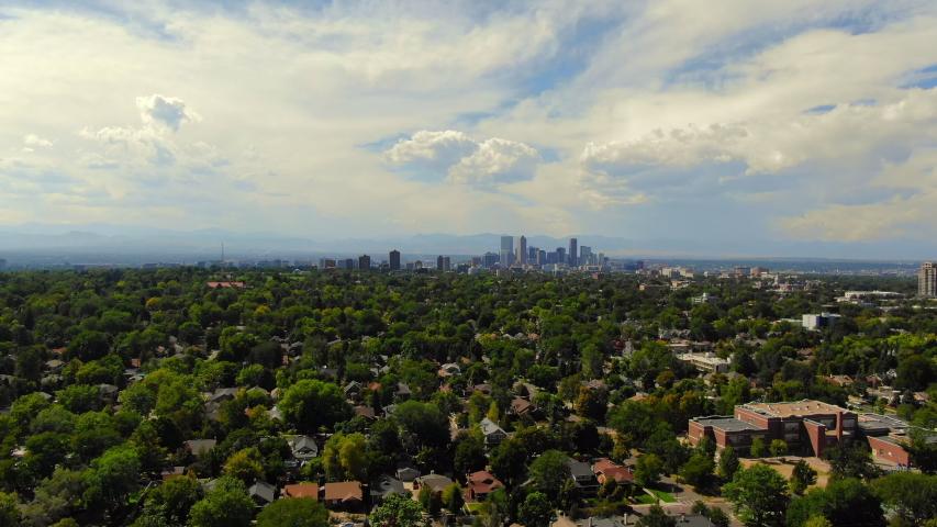 Aerial: Residential Neighborhoods in Denver and Cityscape - Denver, Colorado | Shutterstock HD Video #1038925658