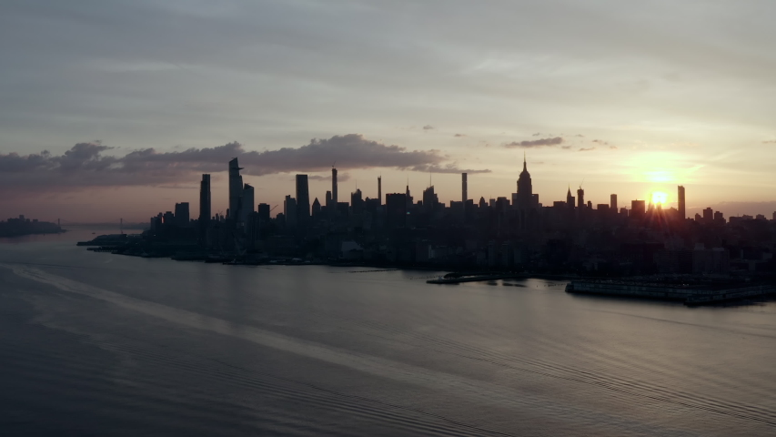 Aerial: The Evening Approaches in New York City - New York City, New York | Shutterstock HD Video #1038925985