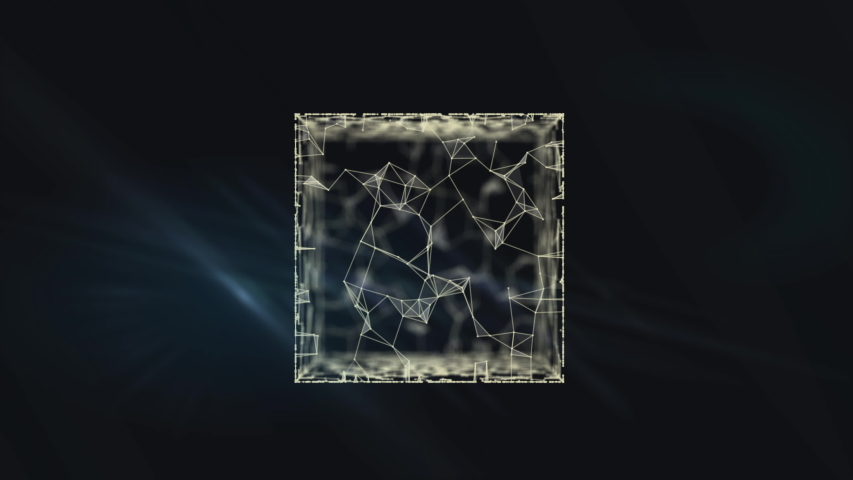 Flying abstract ice cube on black background. | Shutterstock HD Video #1038957872