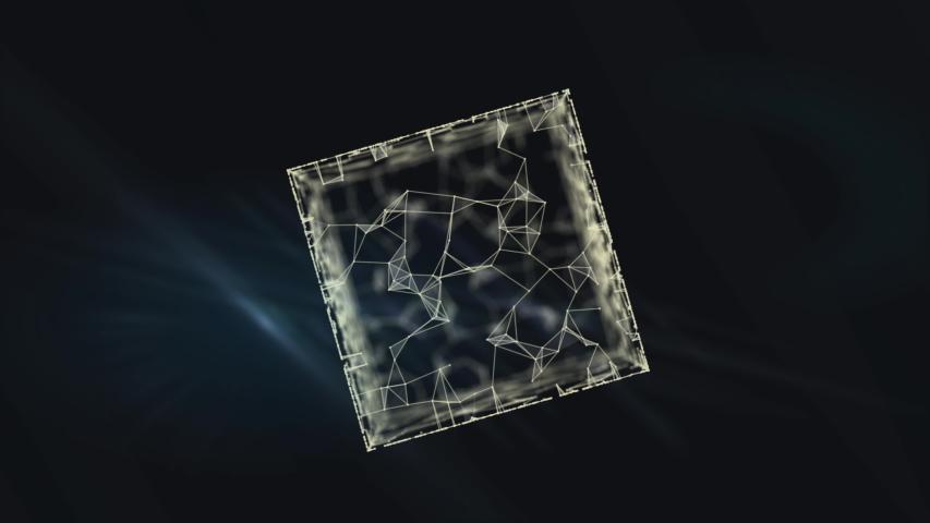 World network inside transparent cyber cube on black. | Shutterstock HD Video #1038957950