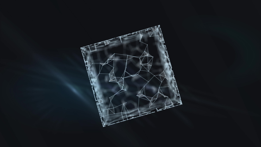A blockchain 3d rendering transparent cube with binary data. | Shutterstock HD Video #1038957956