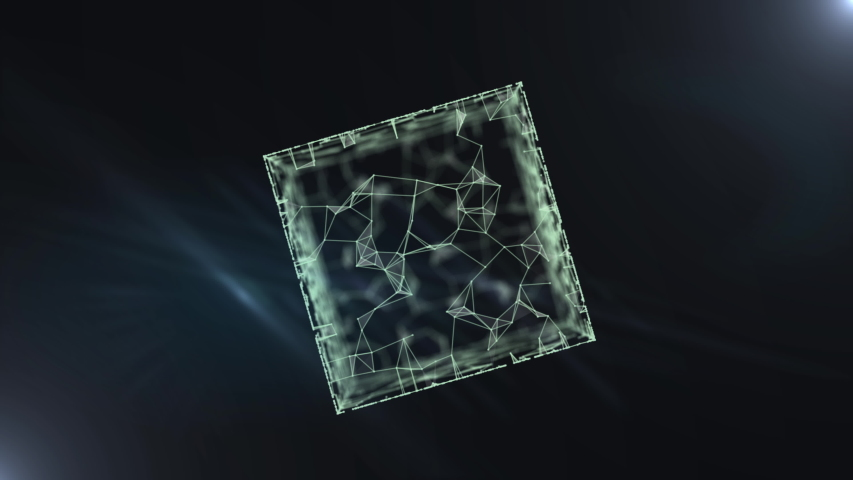 Cryptocurrency blockchain network connection and microcircuit on virtual cube. | Shutterstock HD Video #1038957959