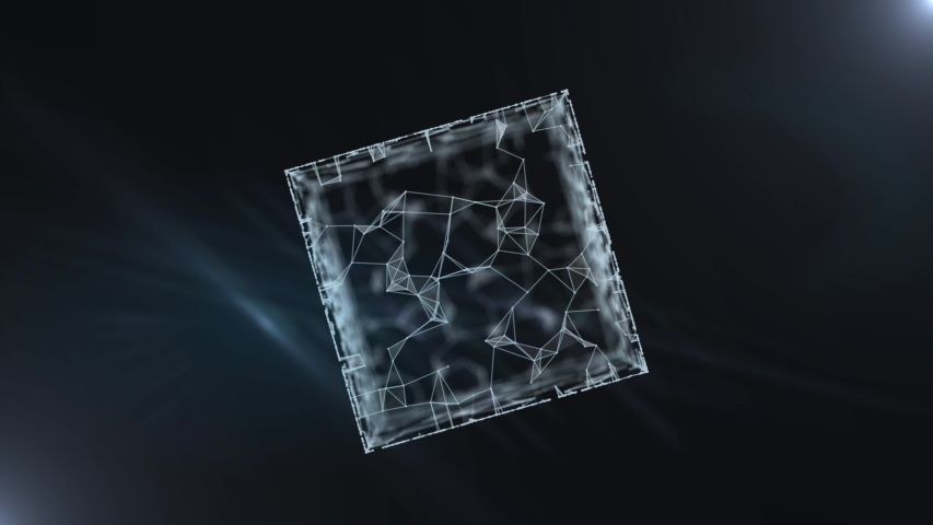 A blockchain 3d rendering transparent cube with binary data. | Shutterstock HD Video #1038957965