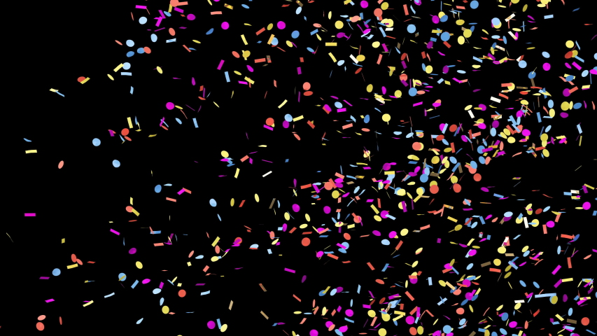 Colorful confetti explodes on a green chroma key and black backgrounds #1038958904