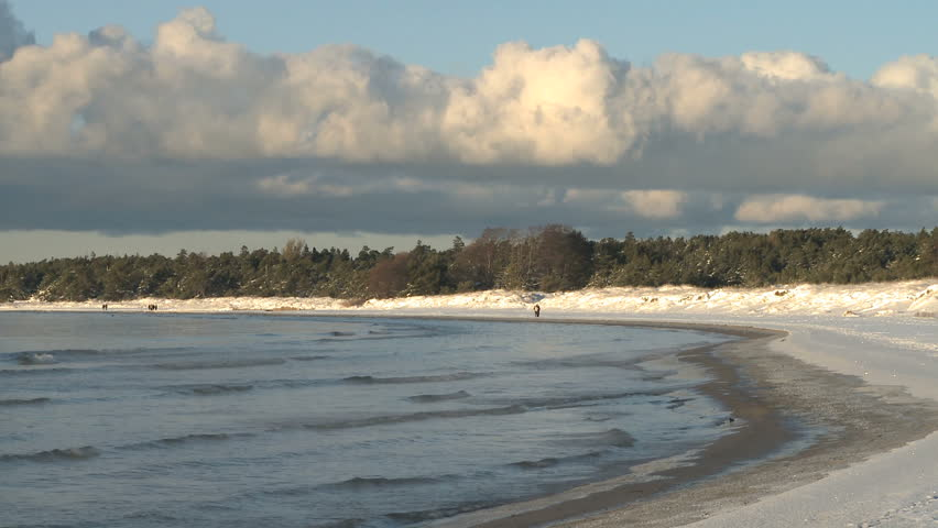 Snow Covered Beach During Winter Stock