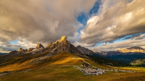 Dolomites mountains the Passo di Giau, Monte Gusela at behind Nuvolau gruppe at sunset
