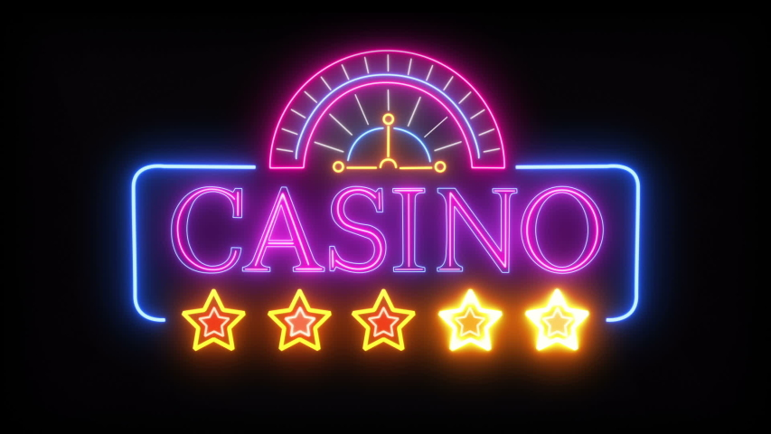 Abstract Bright Casino Neon Sign With Stars And Roulette On A Black Background. Seamless Loop