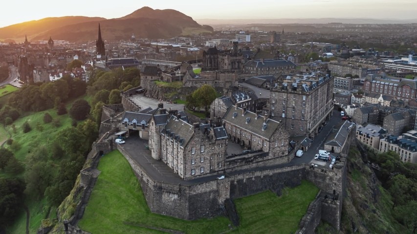 Aerial View of Edinburgh UK, Edinburgh Castle, Old Town, Scotland, United Kingdom