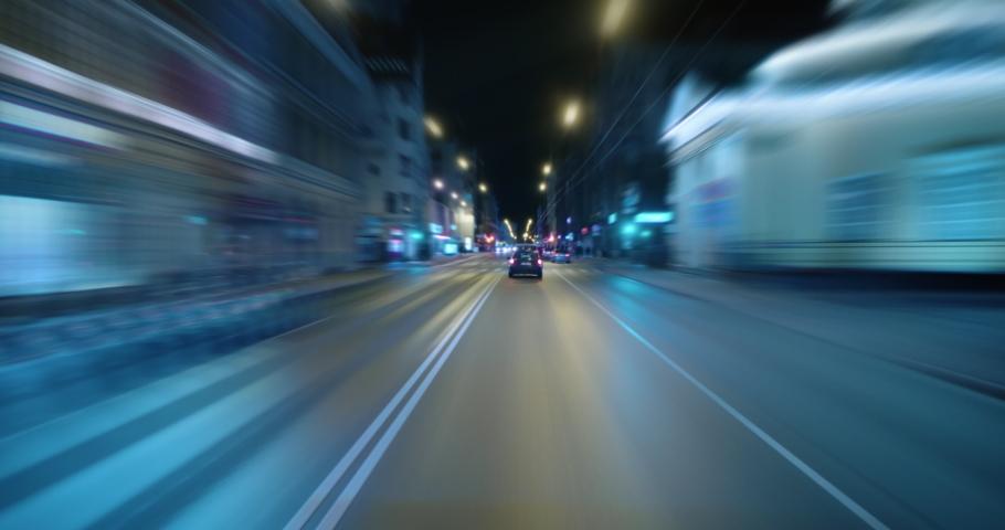 4K - Night city center traffic. Fast driving timelapse | Shutterstock HD Video #1038969785