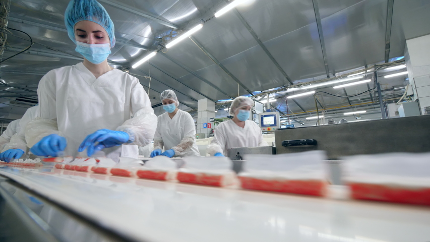 Fish food production unit with female employees at work. Factory Workers Assembling products. Royalty-Free Stock Footage #1038981035