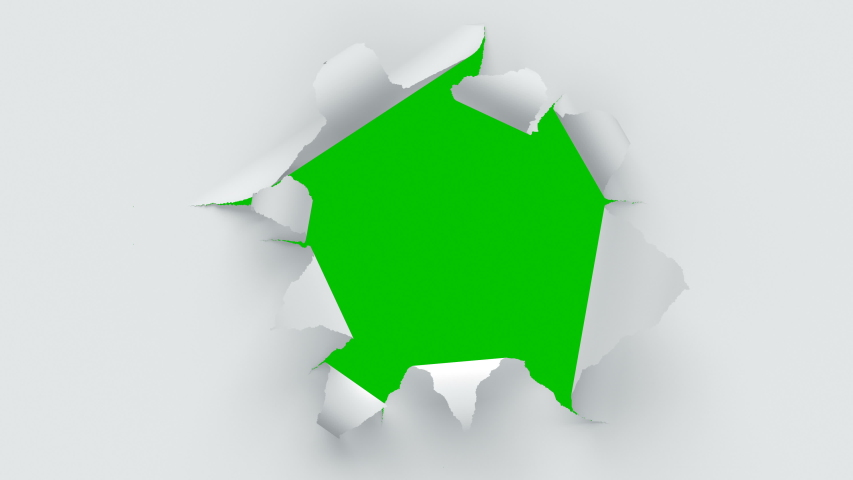 Flying Through the Tearing Paper Sheets on Green Screen. Looped 3d Animation of Sheets of Paper Breaking Through in the Center.