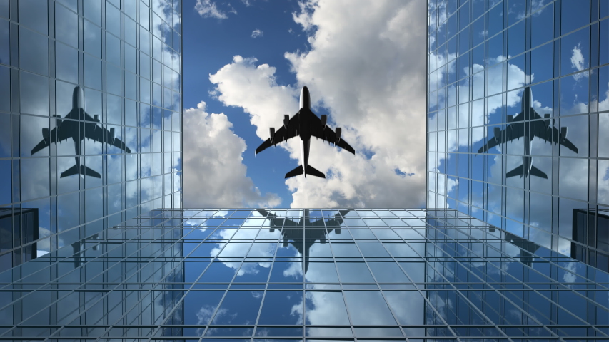 Airplane Flies in the Reflections on the Office Buildings Against a Time-Lapse Clouds Background, 3d Animation 4k, Ultra HD 3840x2160