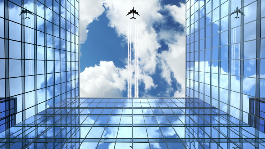 Airplane Flies Leaving Trace Over Office Buildings, 3d Animation 4k, Ultra HD 3840x2160 #1038989135