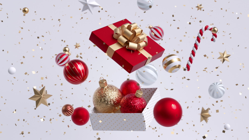 Christmas cycled background. Gold and red balls flying around opened gift box. Rotating whirl, spinning vortex, merry-go-round of 3d objects. Live image. New Year greeting card seamless motion design. | Shutterstock HD Video #1038994745