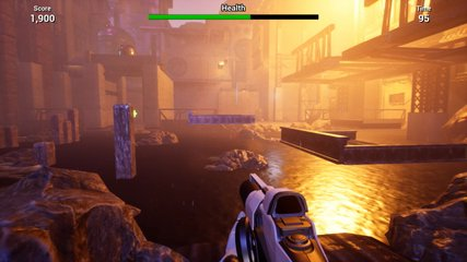 CG imitation of first-person shooter game. Walking through abandoned area, jumping on wooden platform floating above water and striking with gun. Score, health, time indicators are in top of screen