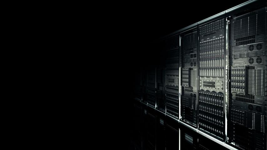 Degisn Dark Servers Racks Camera Walk-Through Shot in Modern data center seamless loop, Cloud computing datacenter server room. Cloud computing data storage 3d animation. 4k UHD | Shutterstock HD Video #1039019867