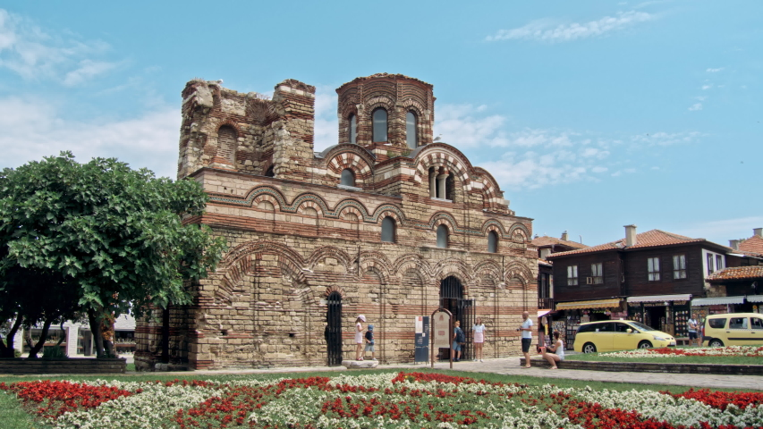 BURGAS, BULGARIA - JULY 2019: The Church of Christ Pantocrator is a medieval Eastern Orthodox church in the Bulgarian town of Nesebar on the Black Sea coast. An ancient Nesebar UNESCO