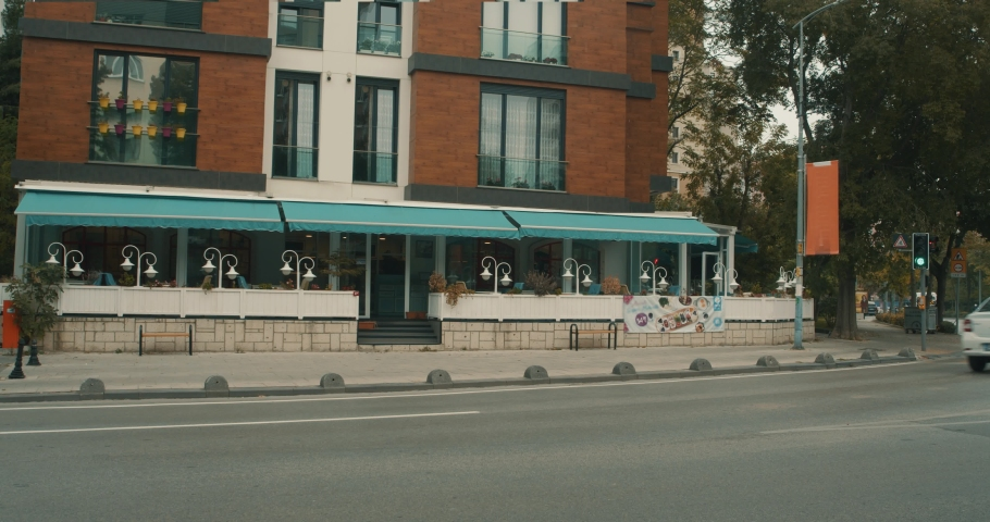 Roadside cafe outside at sunny day | Shutterstock HD Video #1039040879