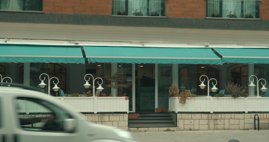 Roadside cafe outside at sunny day