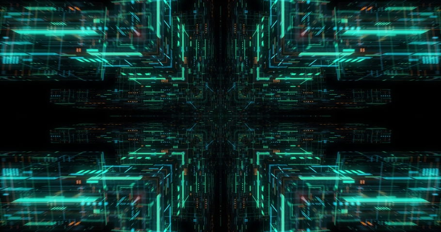 Flying futuristic central processing unit. electronic circuitry within a computer that carries out the instructions of a computer program performing arithmetic, logic, controlling. loop / 3D render Royalty-Free Stock Footage #1039044044