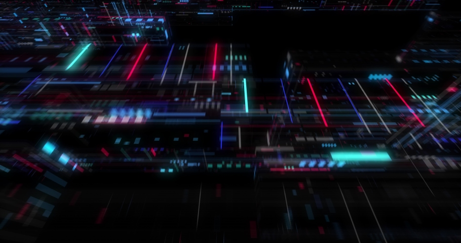 Seamless fly through of abstract circuitry with digital grid background, Data deep learning computer machine. AI artificial intelligence and ML machine learning concept. loop, 3D render | Shutterstock HD Video #1039053164