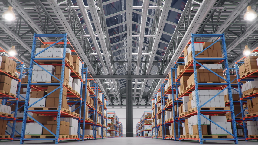 Warehouse with cardboard boxes inside on pallets racks, logistic center. Huge, large modern warehouse. Warehouse filled with cardboard boxes on shelves. Loop-able seamless 4K 3D animation Royalty-Free Stock Footage #1039058330