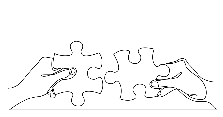 Self drawing line animation of two hands with puzzle pieces connecting together Royalty-Free Stock Footage #1039070810