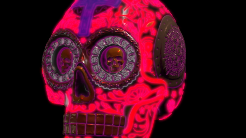 Futuristic seamless animation of a neon skull. Halloween background of a glowing skull