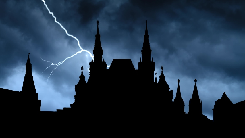 Moscow:  Red Square, Time Lapse with Dark Sky, Storm and Lightning, Russia   Shutterstock HD Video #1039082969