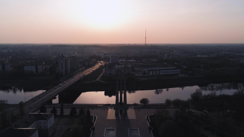 Memorial complex with monument Three Bayonets devoted to heroes of World War 2 and Great Patriotic War in Vitebsk, Belarus. Aerial view, drone shot Royalty-Free Stock Footage #1039093895