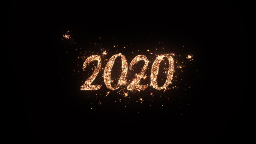 2020 Happy New Year greeting text with particles and sparks on black background, beautiful typography magic design. Royalty-Free Stock Footage #1039103966