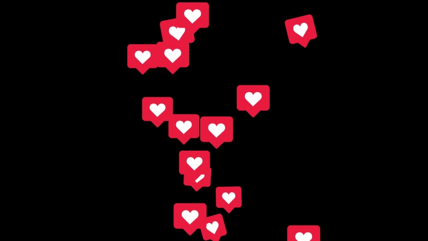 Animation like icons motion background. Social love hearts icons floating from the bottom like particles on isolated black background