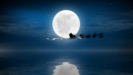 Christmas night with full moon and water with Santa Claus sleight and reindeer silhouette enter and exit flying with text space to place, animated Christmas present greeting post card 4k video.