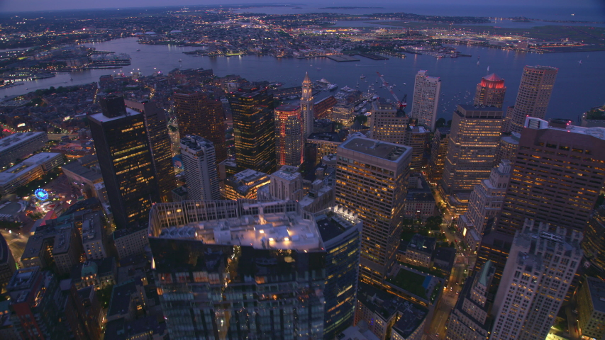 Boston, Massachusetts circa-2019. Aerial view of Boston at sunset. Shot from helicopter with Cineflex gimbal and RED 8K camera.