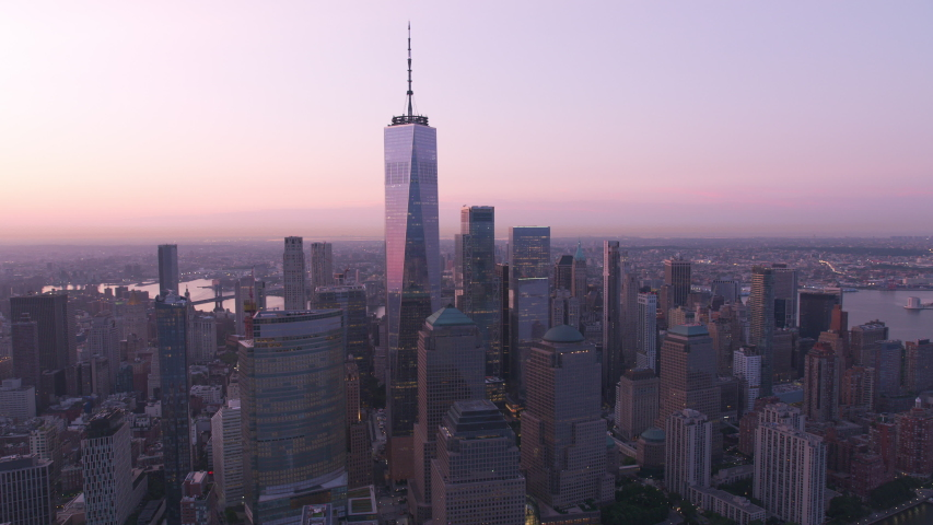 New York City, New York circa-2019. Aerial view of Manhattan at sunrise. Shot from helicopter with Cineflex gimbal and RED 8K camera.
