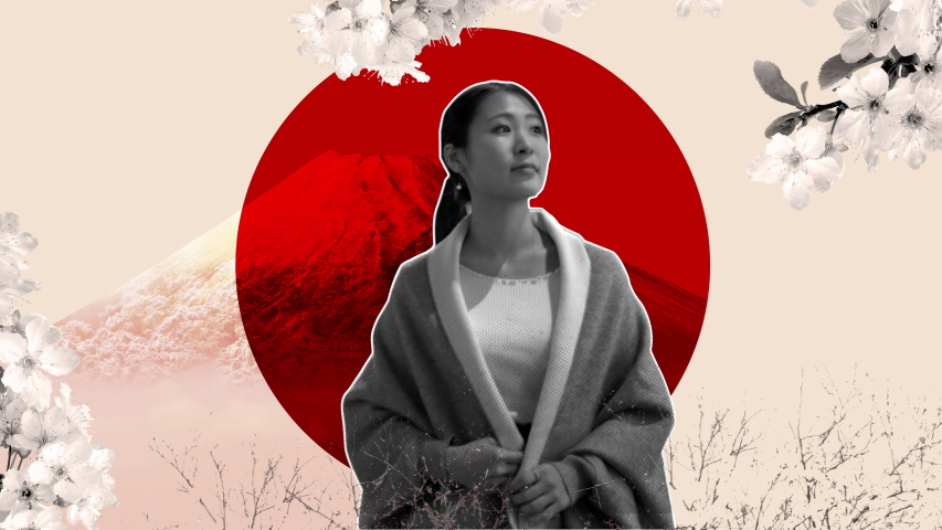Loopable collage Japanese travel blog  poster. Stop motion staccato animation of a woman walking with the Japan flag, mount Fuji, Himeji Castle, and cherry blossoms in the background.  | Shutterstock HD Video #1039126352