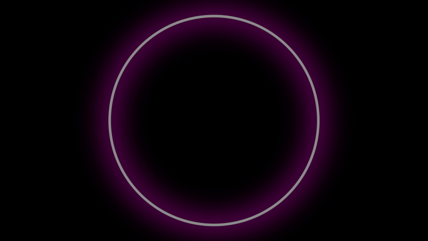 Purple neon circles on a black background. Rhythmically appear and disappear. Looping video. Motion graphics #1039137692