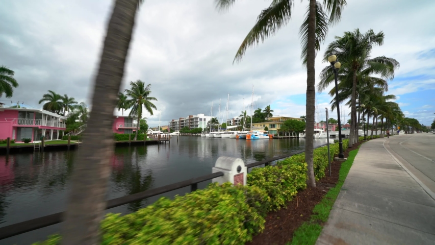 FORT LAUDERDALE, FL, USA - OCTOBER 14, 2019: Isle of Venice Drive Fort Lauderdale FL