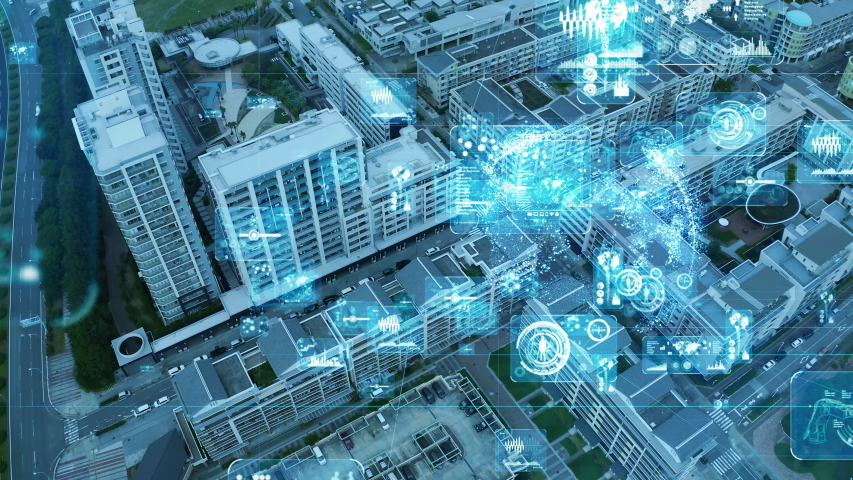 Smart city and communication network concept. 5G. LPWA (Low Power Wide Area). Wireless communication. Royalty-Free Stock Footage #1039154567