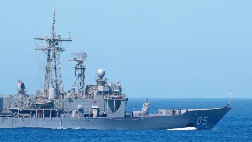 Point Lonsdale, Australia - September 18, 2019: HMAS Melbourne (FFG 05) Adelaide-class guided-missile frigate of the Royal Australian Navy departing Port Phillip Bay in the open ocean.